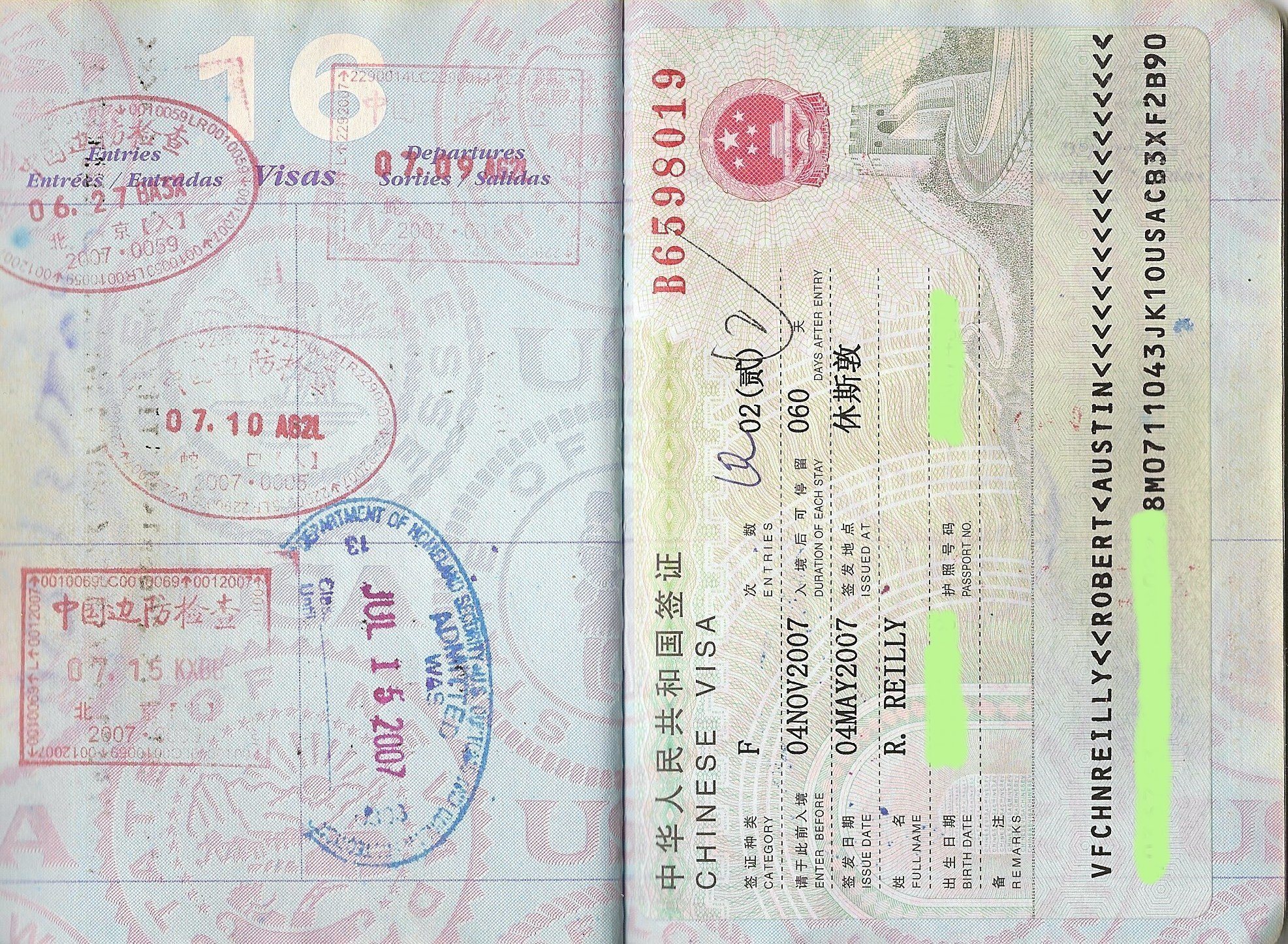 Rob Reilly's passport pages